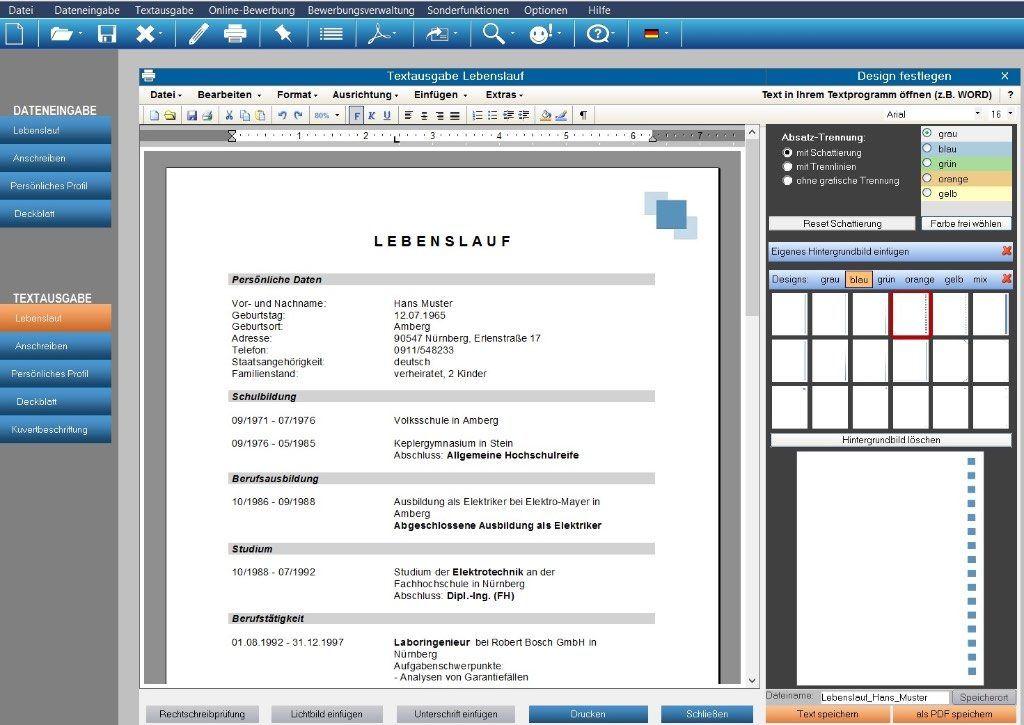 Die Software Erstellt Individuelle Bewerbungsunterlagen Inkl Bewerbungsschreiben Cv Lebenslauf Profil D Online Bewerbung Lebenslauf Design Cv Lebenslauf