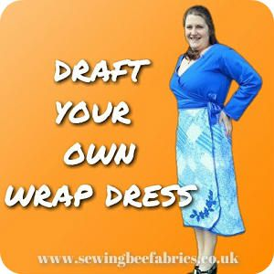 Sewing Bee Fabrics Tutorial Draft Your Cotton Wrap Dress 3 days before going to a wedding I realised I had nothing suitable that fitted so it was time to make a new dress! This one is made from body measurements and because it wraps doesn't matter if its not... #applique #biasbinding #cotton