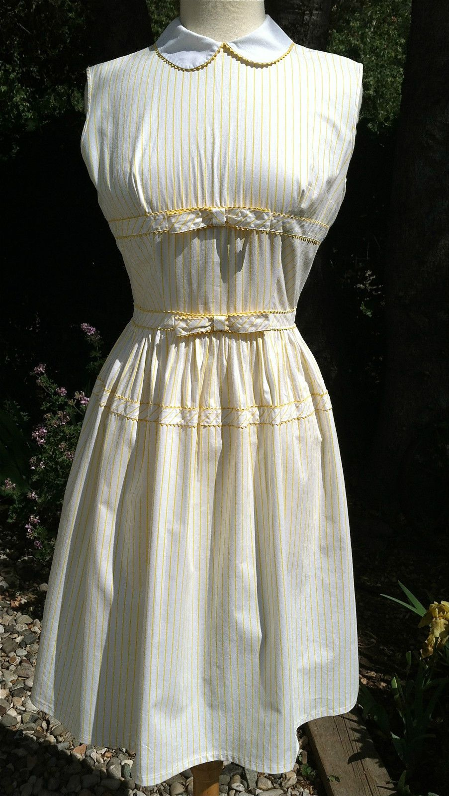 Vintage us yellow stripe cotton pin up rockabilly garden day