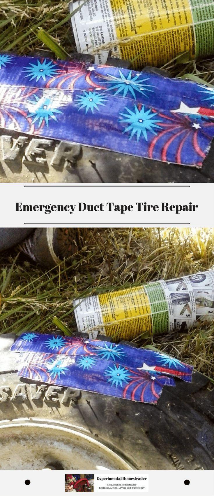 Emergency duct tape tire repair experimental homesteader
