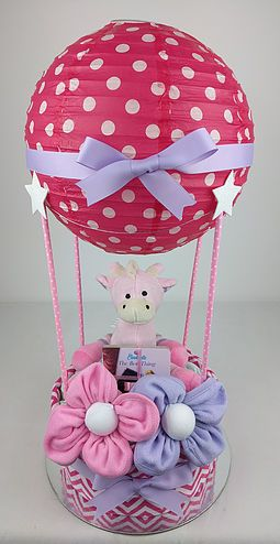 Pink purple hot air balloon books washcloth flowers nappy cakes nappy cake for baby showers maternity farewell or a new arrival gift delivering to brisbane sydney melbourne more negle Choice Image