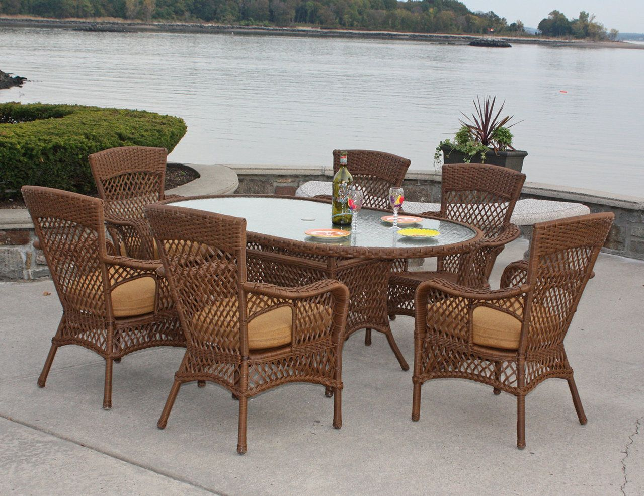 Vinyl Wicker Chairs With Ottomans Dining Set Savannah By Blog