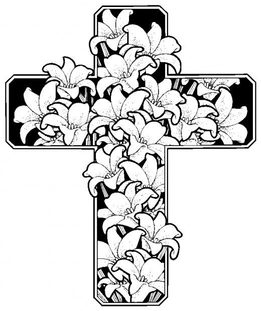 Easter Flowers With Cross Christian Coloring