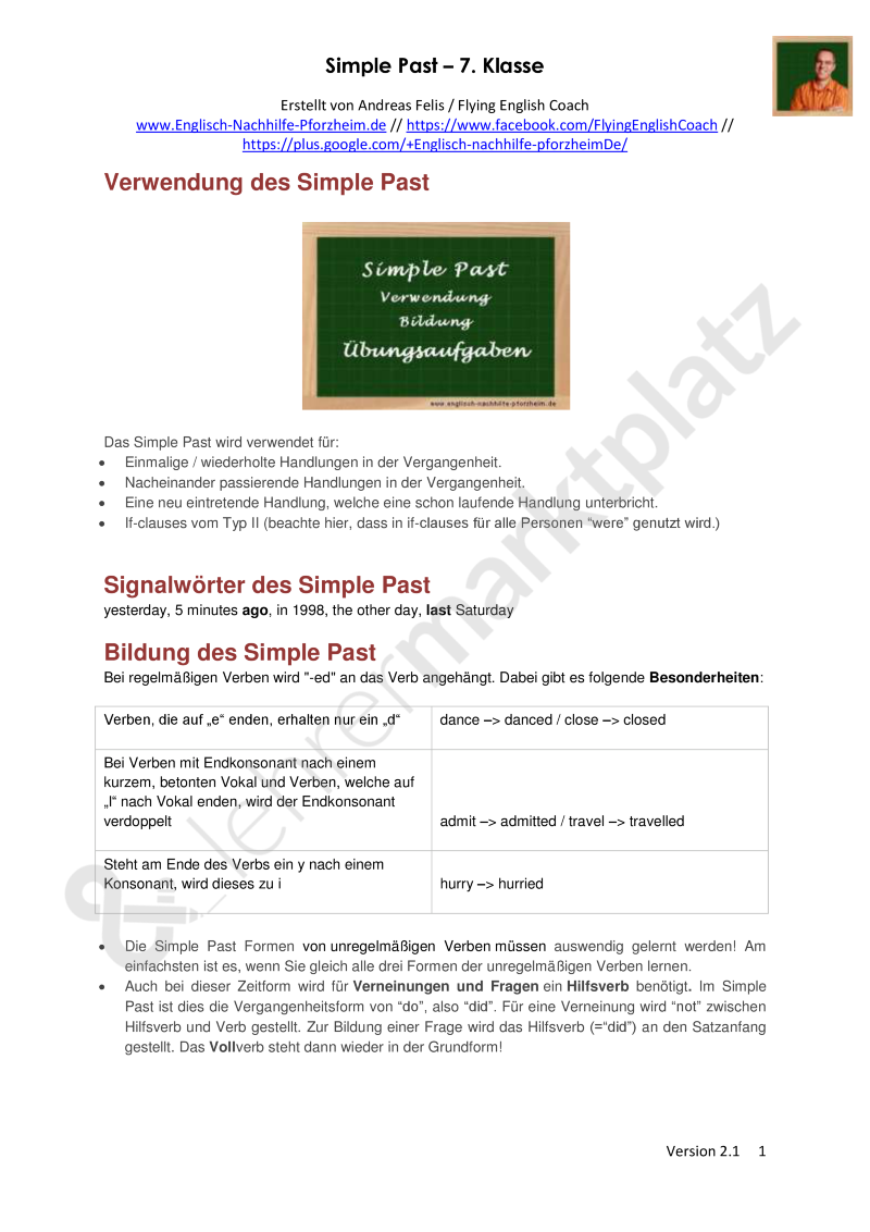 Simple Past - Arbeitsblätter mit Lösungen (7. Klasse) - Möchtest du ...