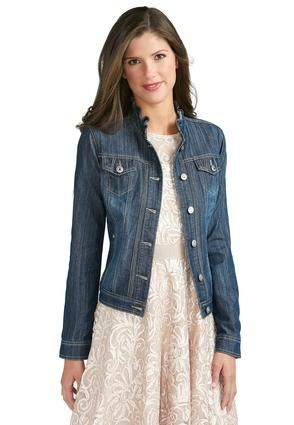 2be024f9111 Cato Fashions Ruffle Collar Denim Jacket  CatoFashions