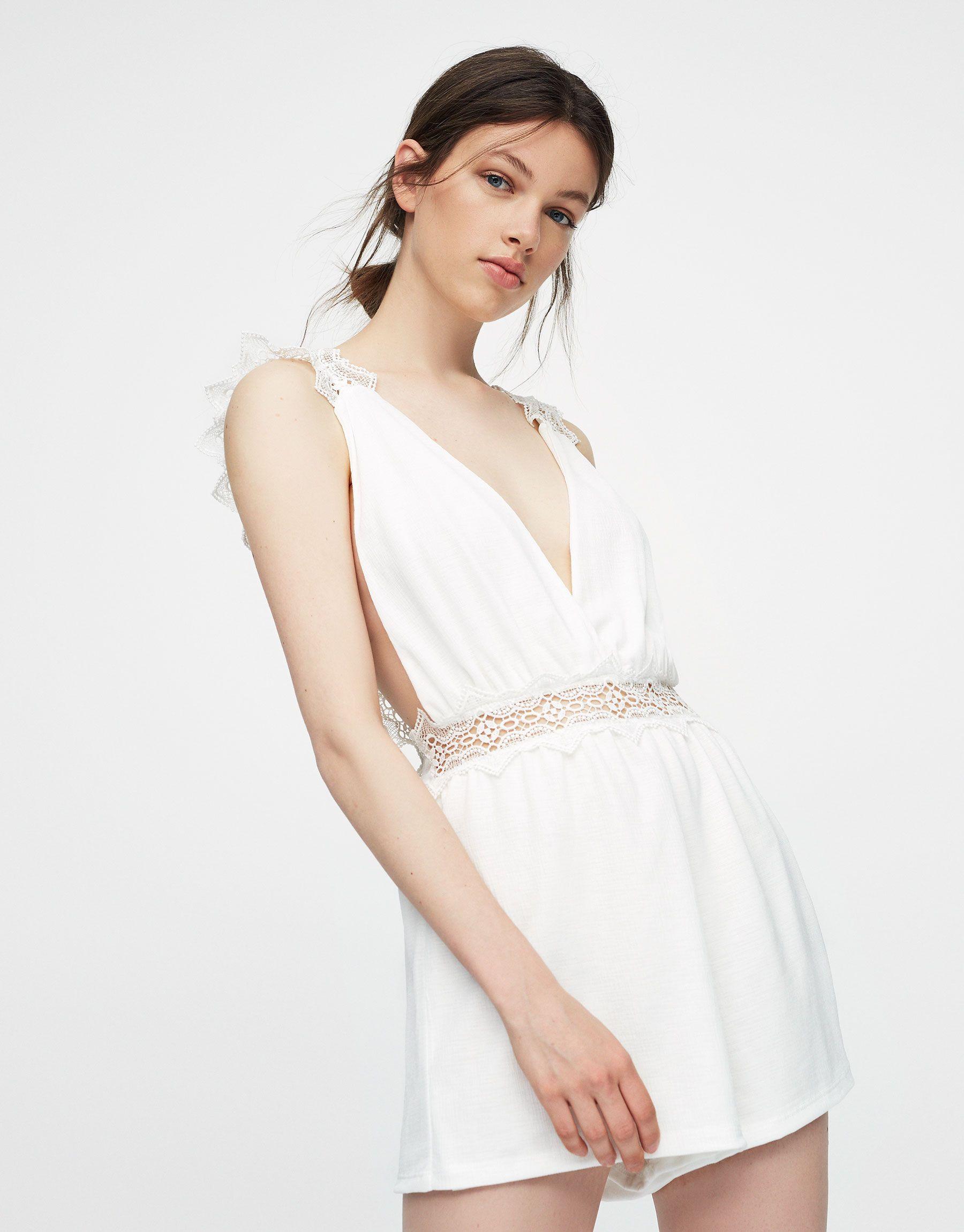 Combishort détail crochet - Salopettes - Vêtements - Femme ...