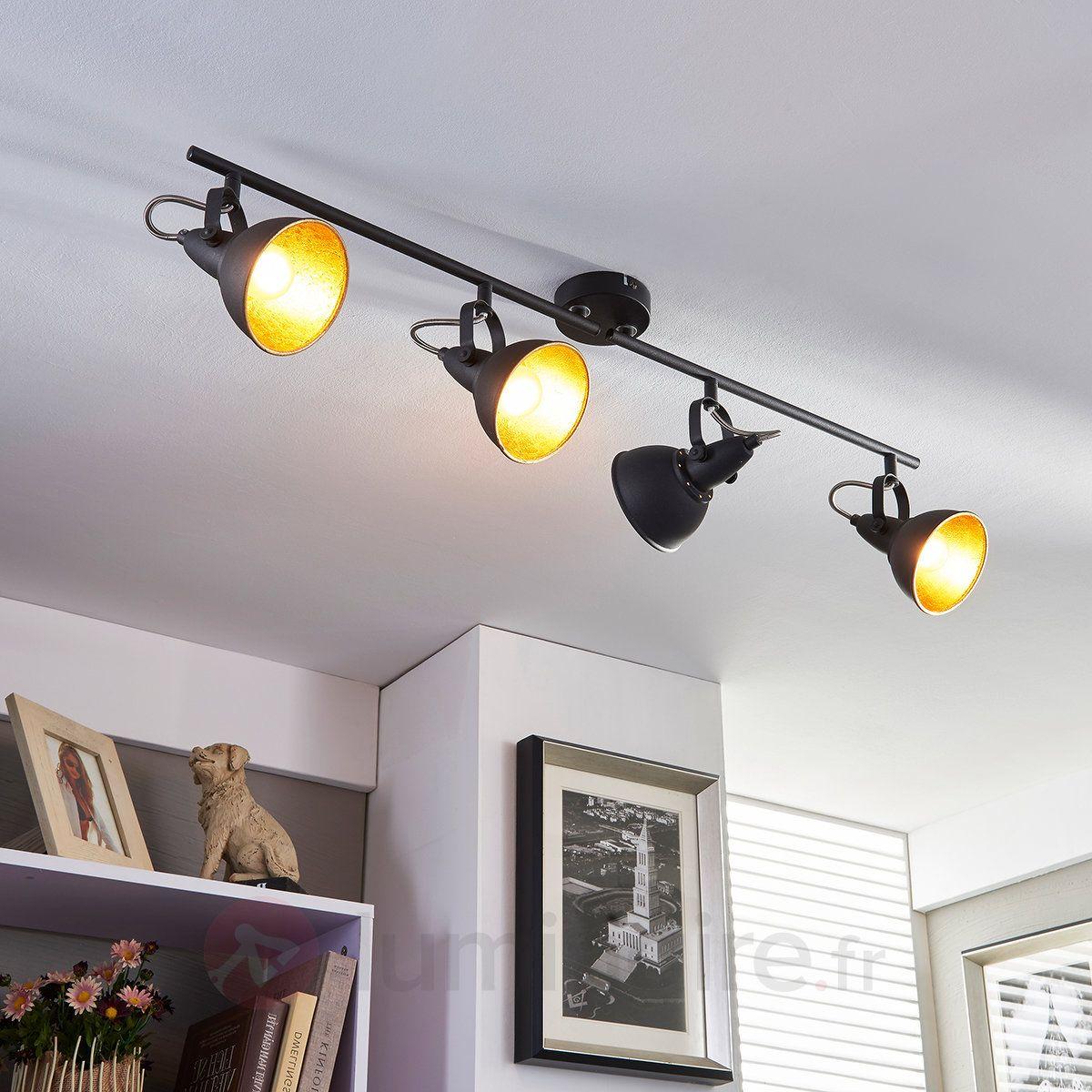 Projecteur de cuisine noir doré Julin  4 lampes