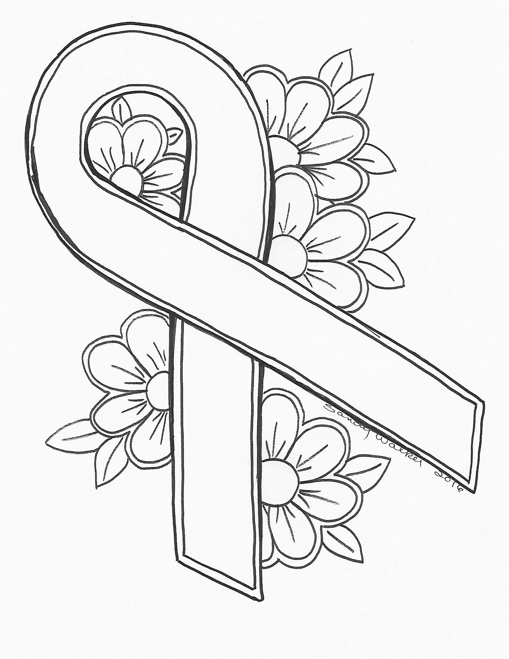 coloring pages for cancer awareness | An Original by Sandra Walker 2016. Ribbon for Cancer ...