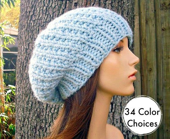 Hand Knit Hat Blue Womens Hat Soho Beret In Glacier Blue Rg