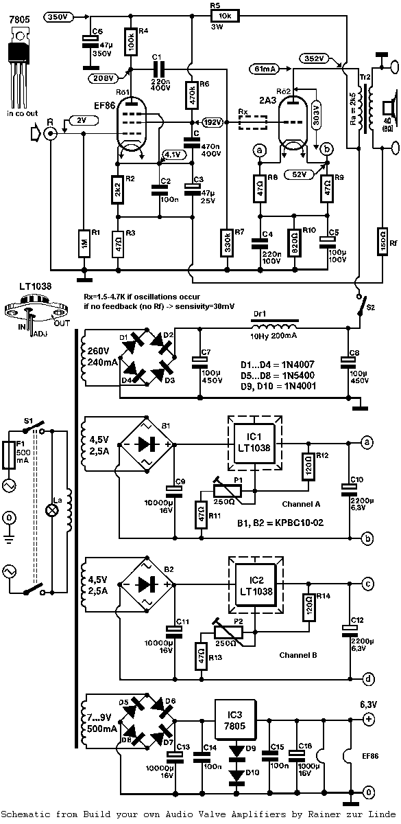 Single Ended Triode (SET) 2A3 Tube Amplifier Schematic