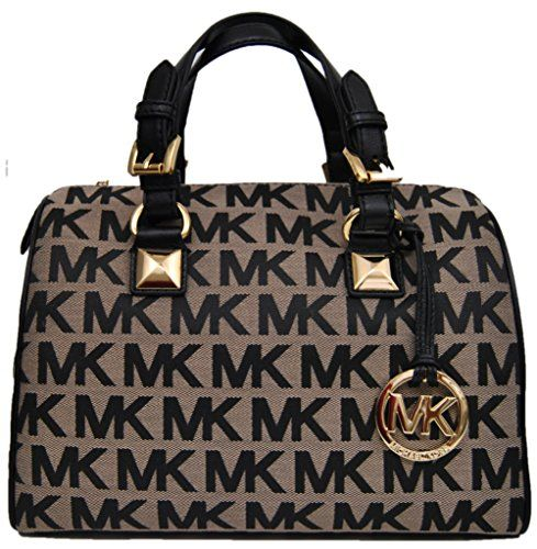 f778c7317b2af Women s Top-Handle Handbags - Michael Kors Jacquard Grayson Medium Satchel  Handbag Crossbody Bag Shoulder Purse in BeigeBlackBlack     More info could  be ...