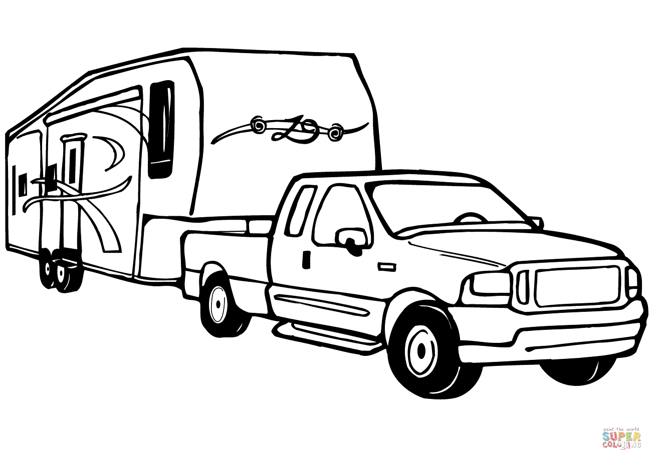 - Truck And Rv Camper Trailer Coloring Page Free Printable Sketch