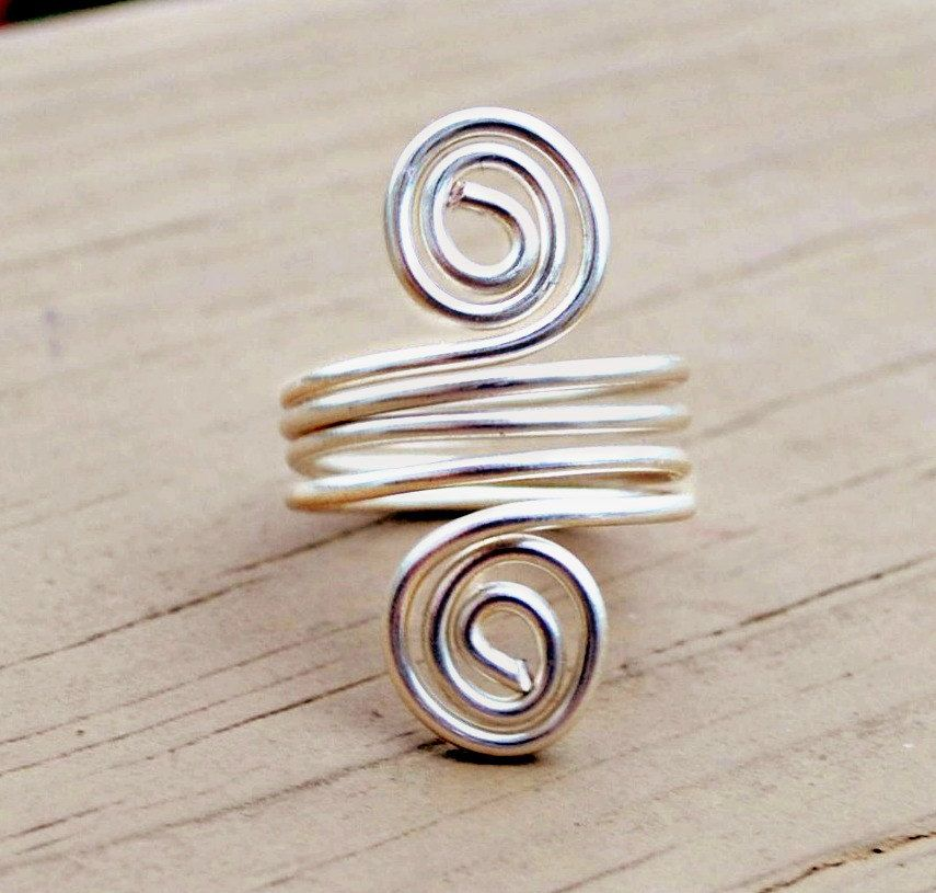 Wire Wrapped Ring Silver Wrap Around Spirals.   Wire Rings ...