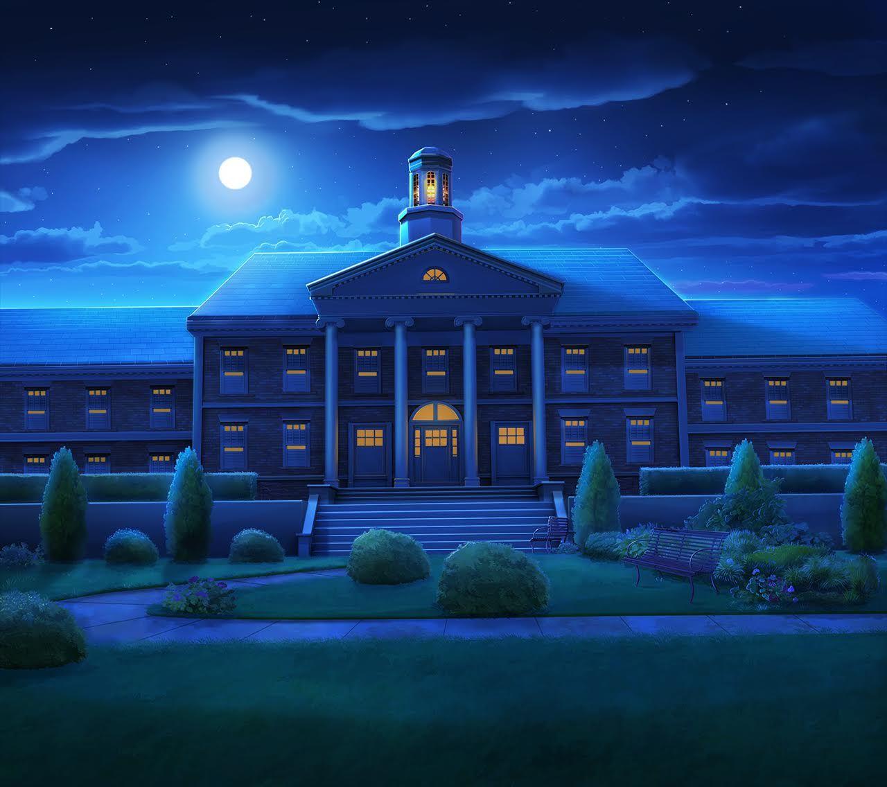 EXT. SMALL COLLEGE CAMPUS NIGHT Cenário anime, Fotos