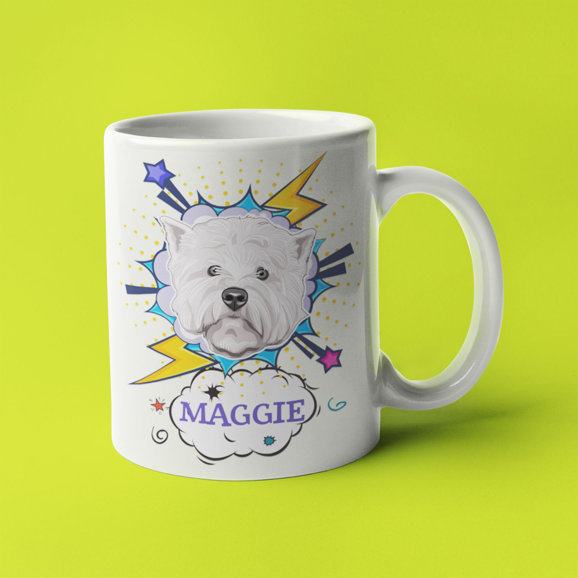 Custom cartoon pet portrait dog coffee mug cup