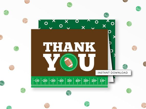 Football Thank You, Football Baby Shower, Thank You Card, Sports