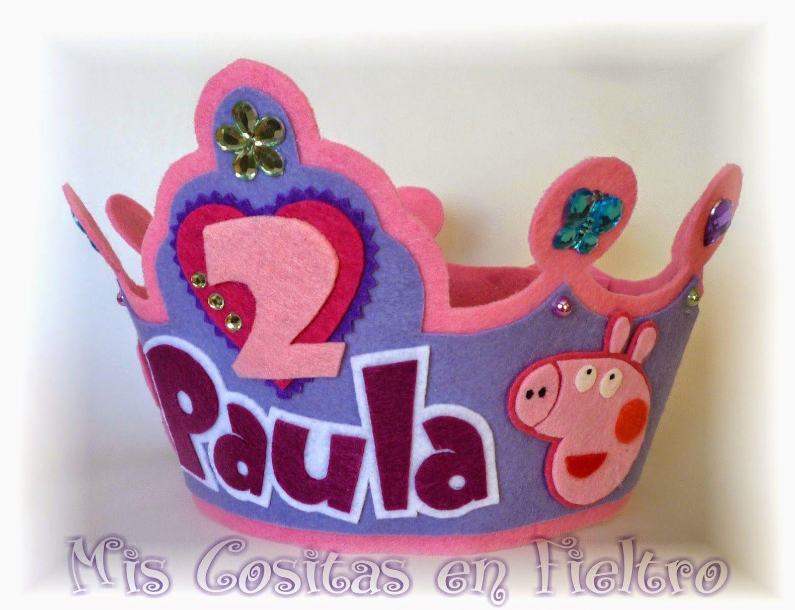 corona de cumpleaños, corona de fieltro, Peppa Pig, fiesta ...