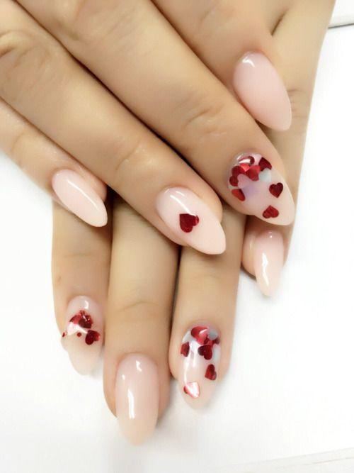 Valentine nails | Hearts and Valentines | Pinterest | Round nails ...