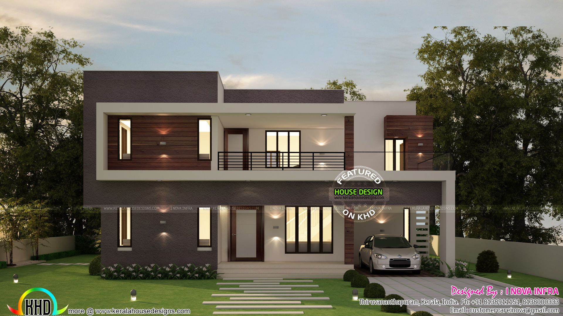 4 Bedroom Flat Roof Contemporary 2300 Sq Ft Kerala Home Flat Roof House Small House Design Duplex House Design