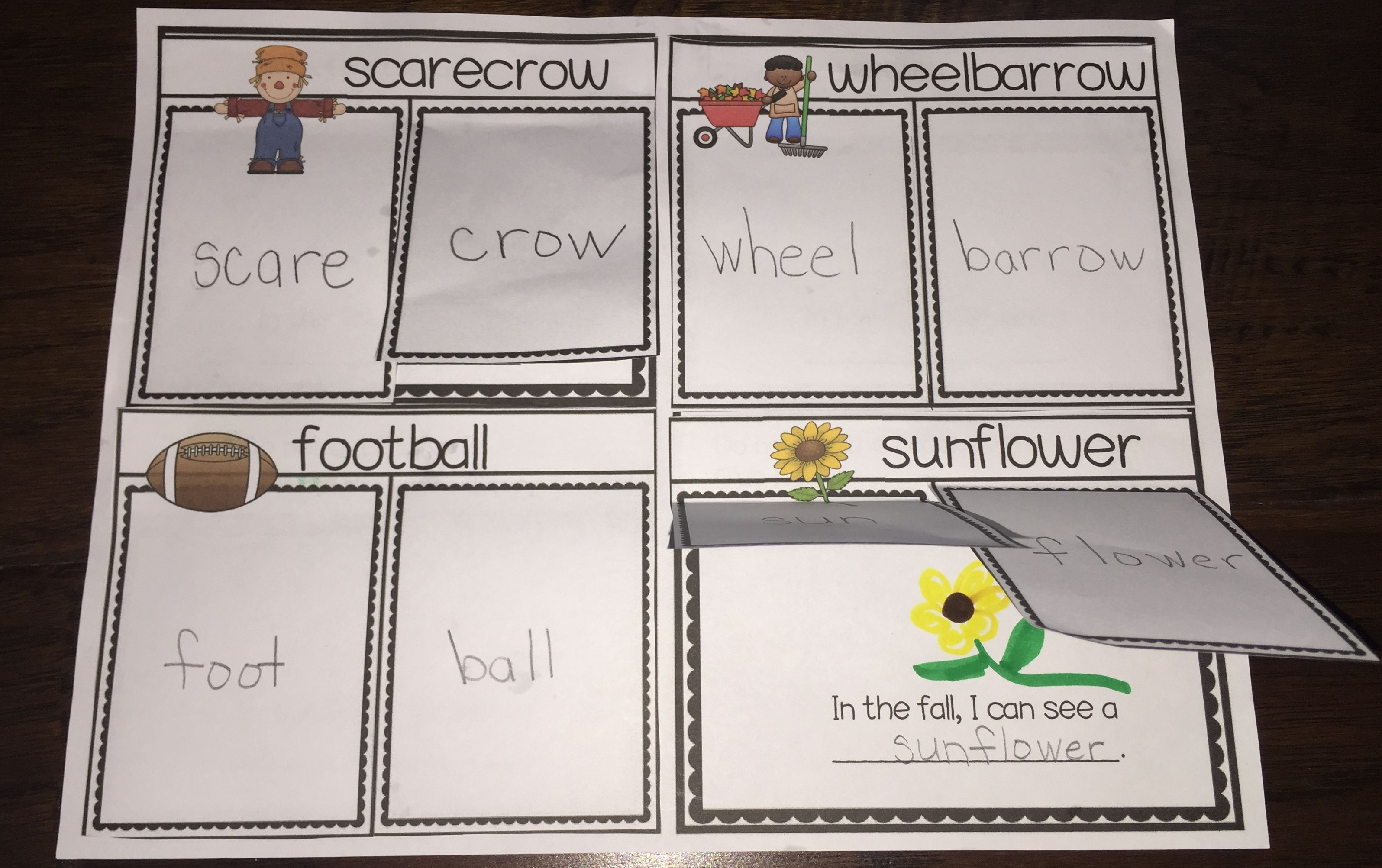 Compound Words Activities Fall Flap Books Dollar Deal