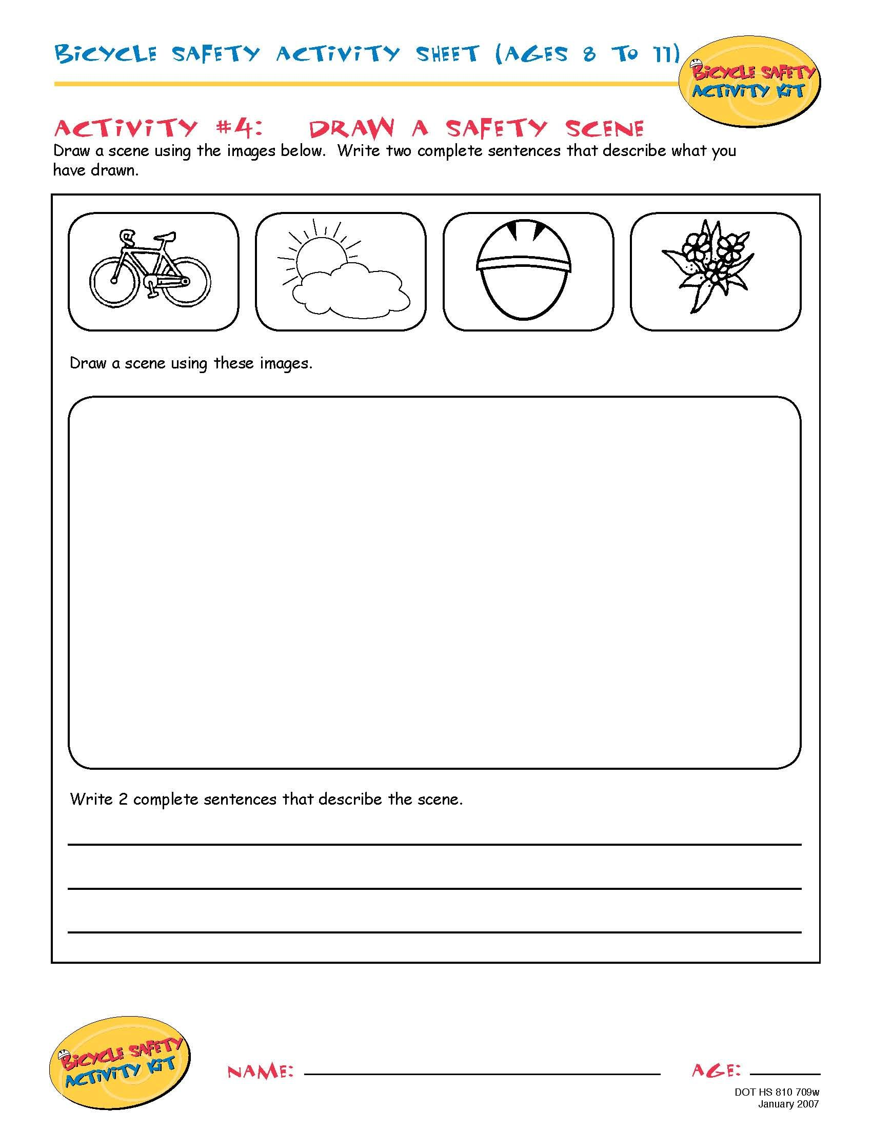 Bike Safety Activity Sheet Ages 8 To 11 Draw A Safety