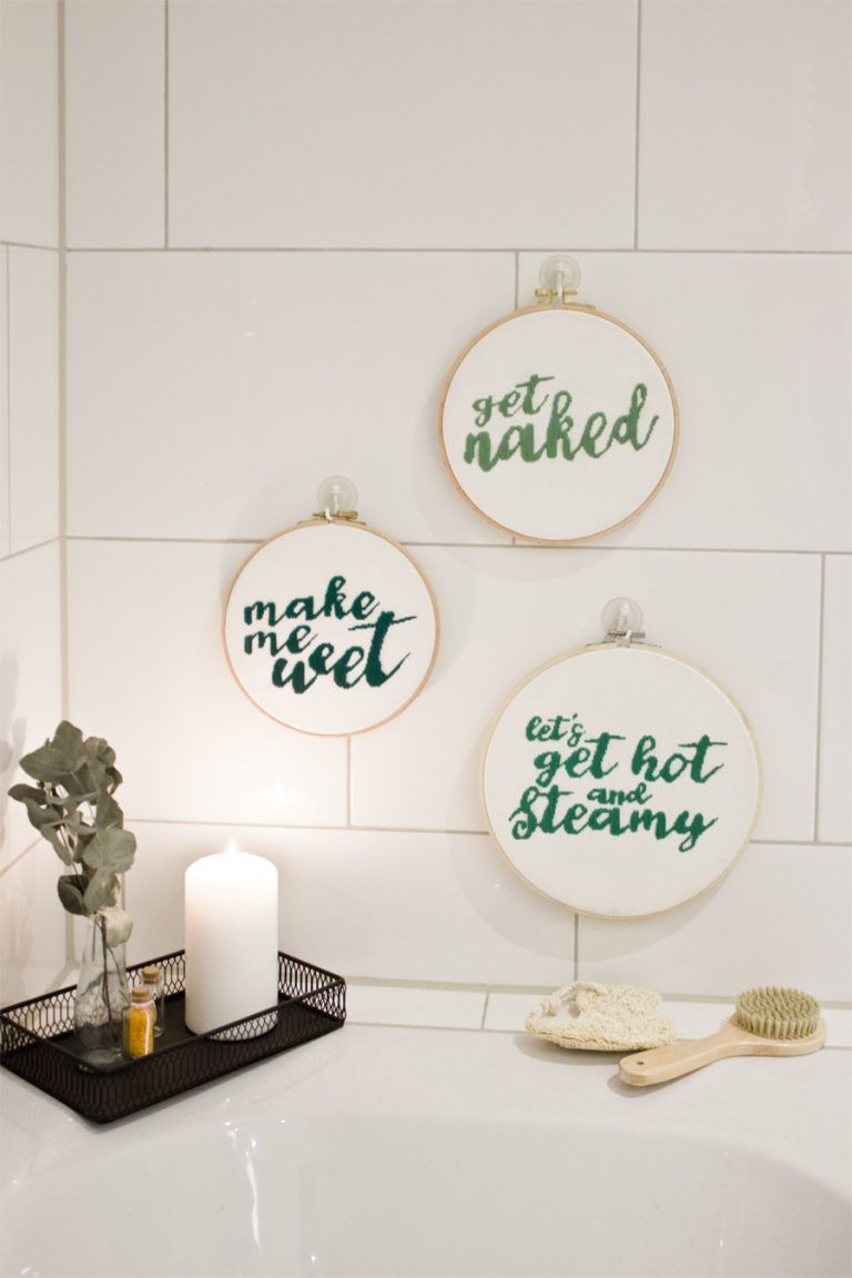 Cheeky embroidery wall art - for the new bathroom  LOOK WHAT I