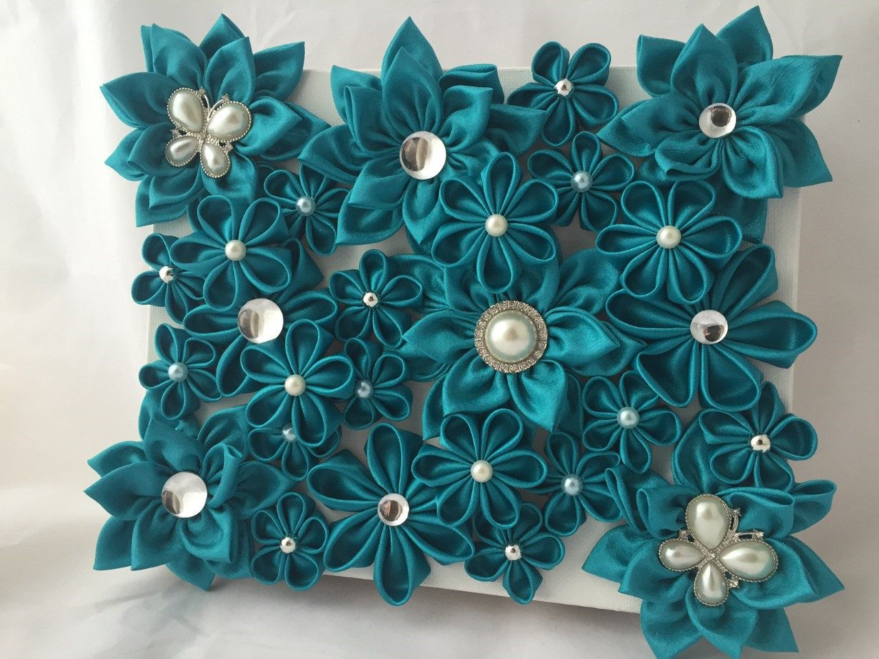 teal pearl wall decor flower handmade wall hanging