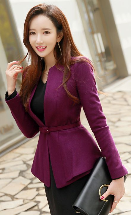 Pinterest De Fitted Jacket Dama Ropa Collarless Belted 61qpYw