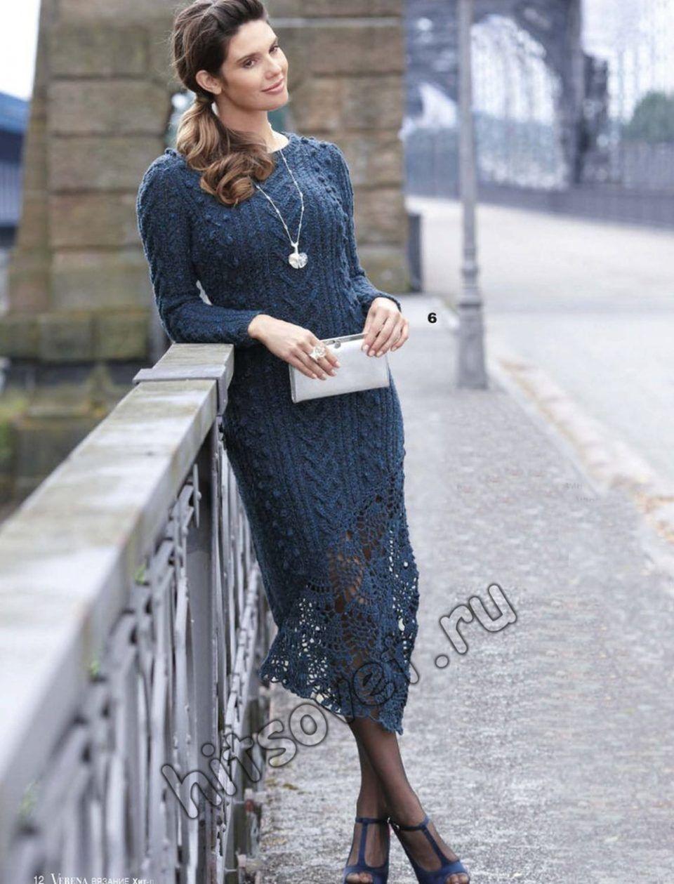 8d191813337 Вязаное платье с кружевом внизу
