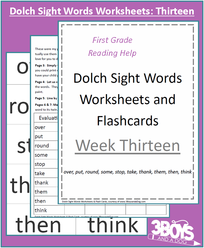 Dolch Sight Words Worksheets Week Thirteen Sight word