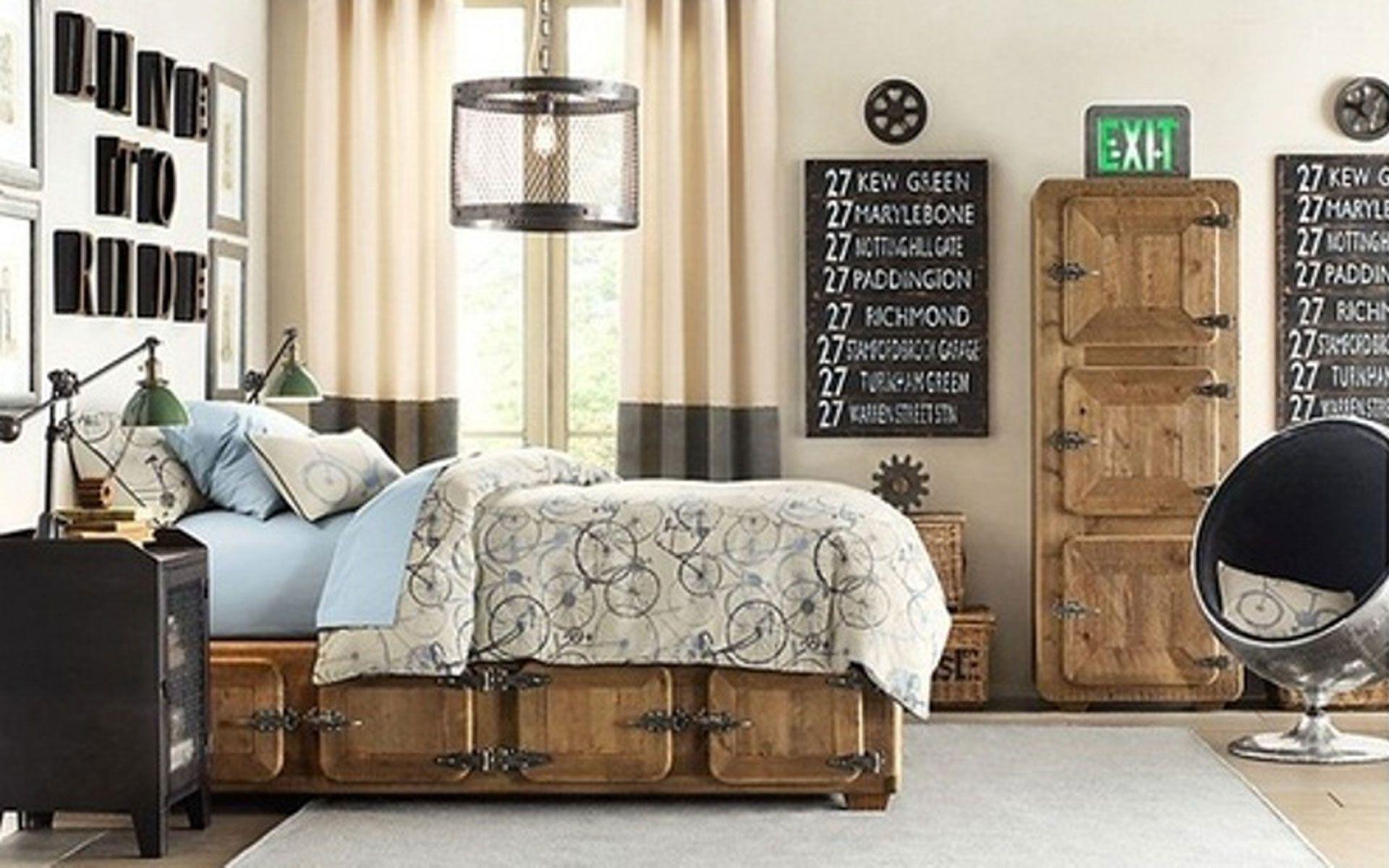 Industrial Interior Design Bedroom Bedroomvintage Industrial Bedroom With Brown Grey Comfort Bed