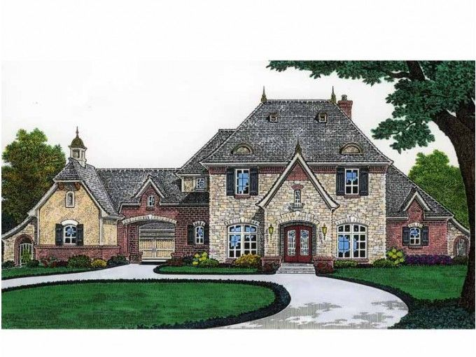 French country house with a porte cochere dream home for Porte cochere home plans