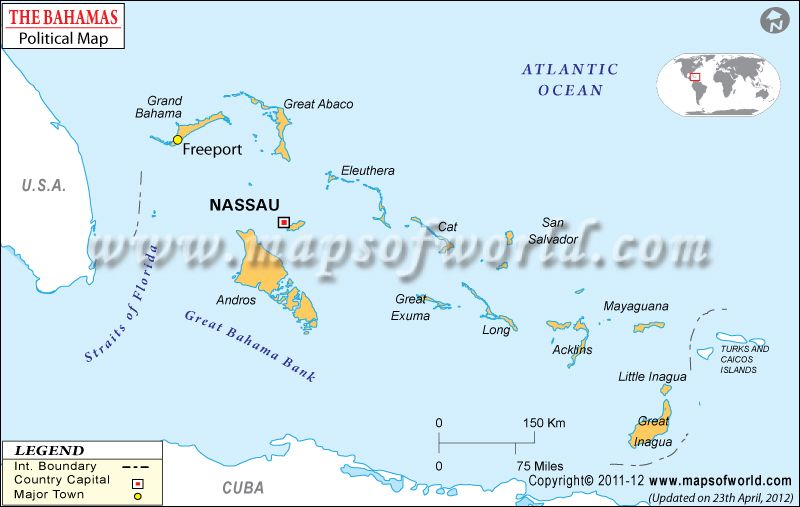 Bahamas Map - Bahamas political map features the international ...