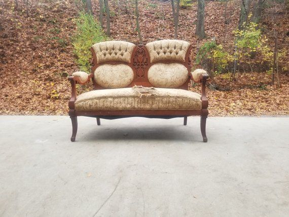 Pleasant Antique Carved Wood Loveseat Vintage Victorian Settee Pabps2019 Chair Design Images Pabps2019Com