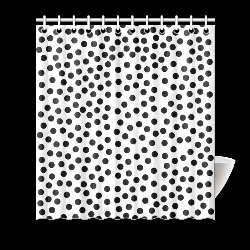 "Black Polka Dot Design Shower Curtain 66"" x 72"".Polka dot design. This polka dot pattern makes a great gift for any polka dot lover"