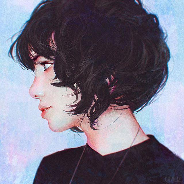 Curly Short Hair Study Bobcut Girl Portrait Digitalpainting