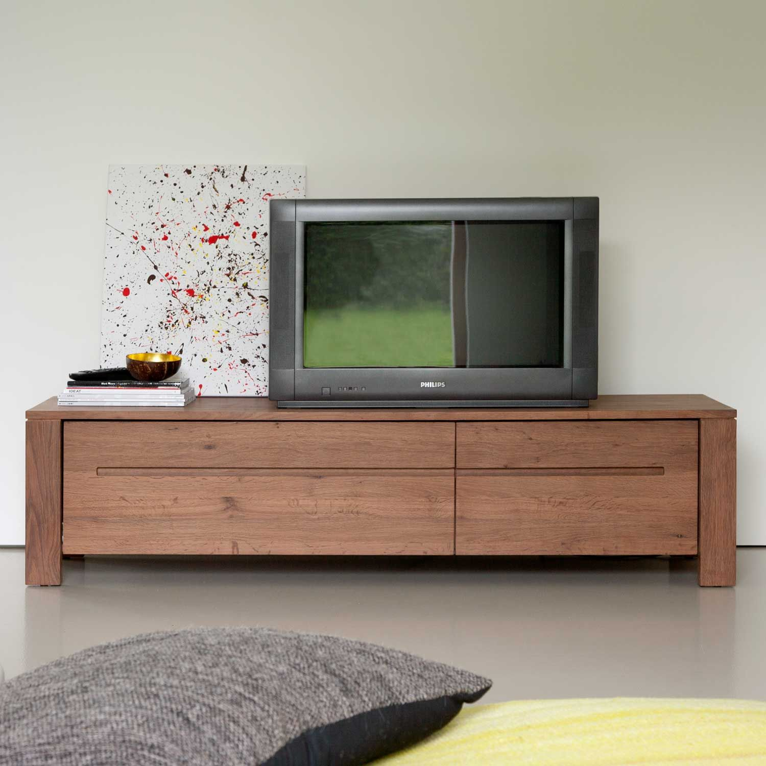 Oak Steamed Burn Tv Cupboard W210 X D45 X H40 Cm 1 283 Media  # Meuble Tv York