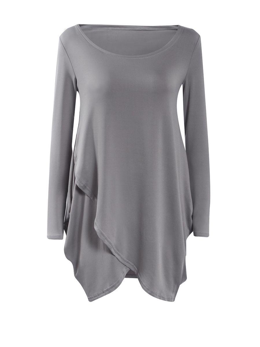 Round neck asymmetric hem plain long sleeve tshirt rounding