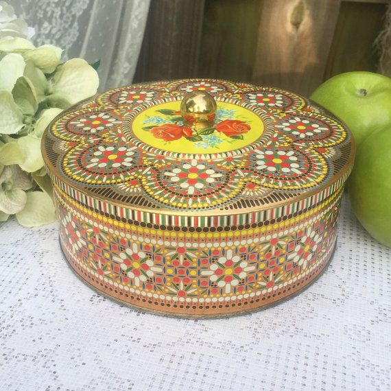 Decorative Round Boxes Vintage Mosaic Floral Tin Box Daher Decorative Round Biscuit