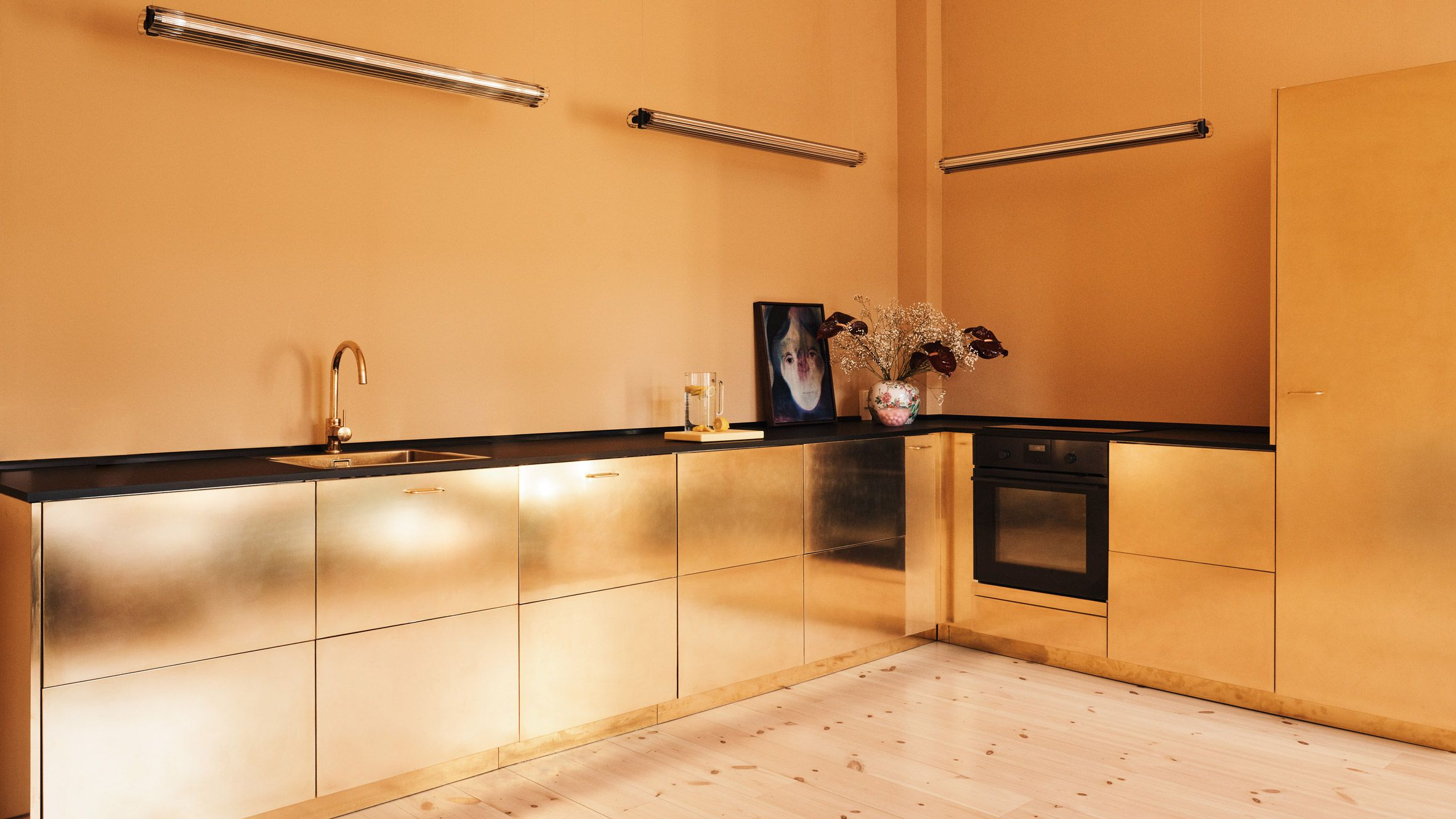 Reform Hacks Ikea Cabinets To Create Gold Hued Kitchen For Danish Fashion Brand Deko Tisch Gold Kuche Ikea Kuchenideen