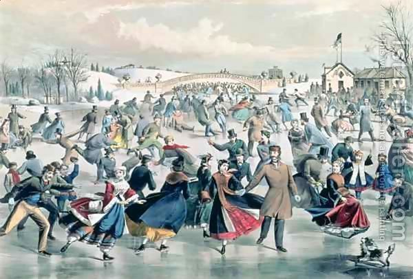 Central Park New York Ice Skating by Currier /& Ives Vintage Poster Repro FREE SH