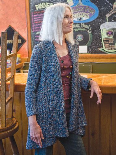 Kirra Cardigan - free crochet pattern @ Berroco - can be worn upside down with a generous collar and cropped back view