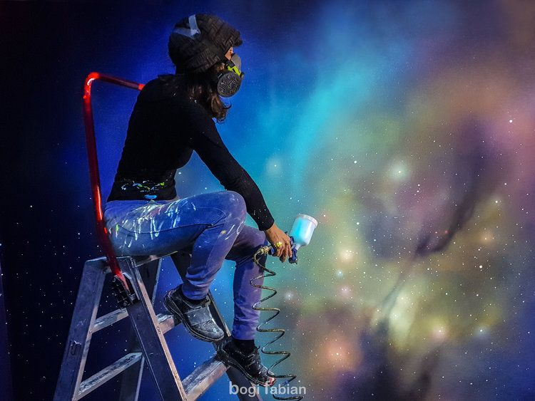Bogi Fabian Glowing Mural Ultraviolet Blacklight Art Universum Galaxy Interior Design Glowinthedark Universum Projekte