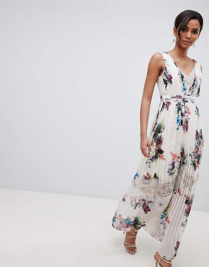 5252a9812623 Little Mistress pleated maxi dress in floral print in cream multi ...