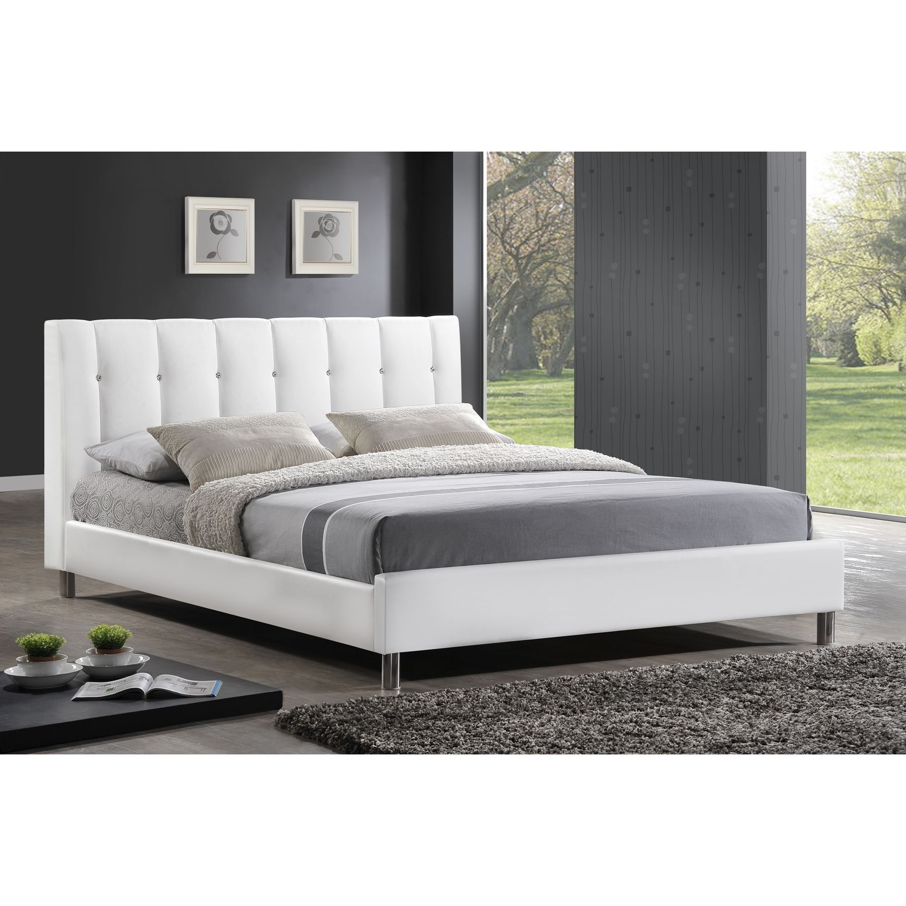 Baxton Studio Vino White Modern Bed With Upholstered Headboard
