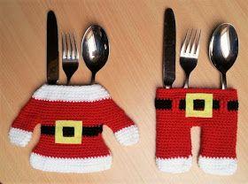 Häkelfieber Austria Bestecktaschen Weihnachtsmann Besteck