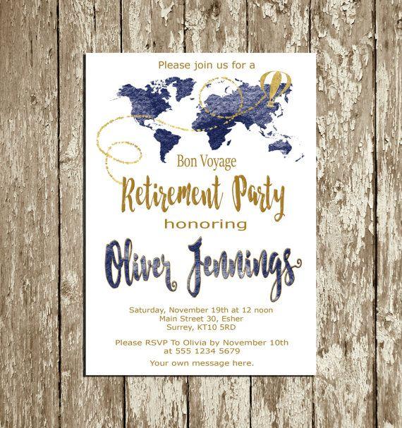 Retirement Invitation For Men Blue Navy And Gold Retirement