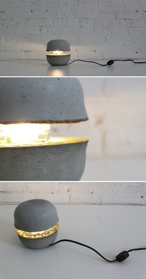 You can use everyday cereal bowls to cast this concrete lamp