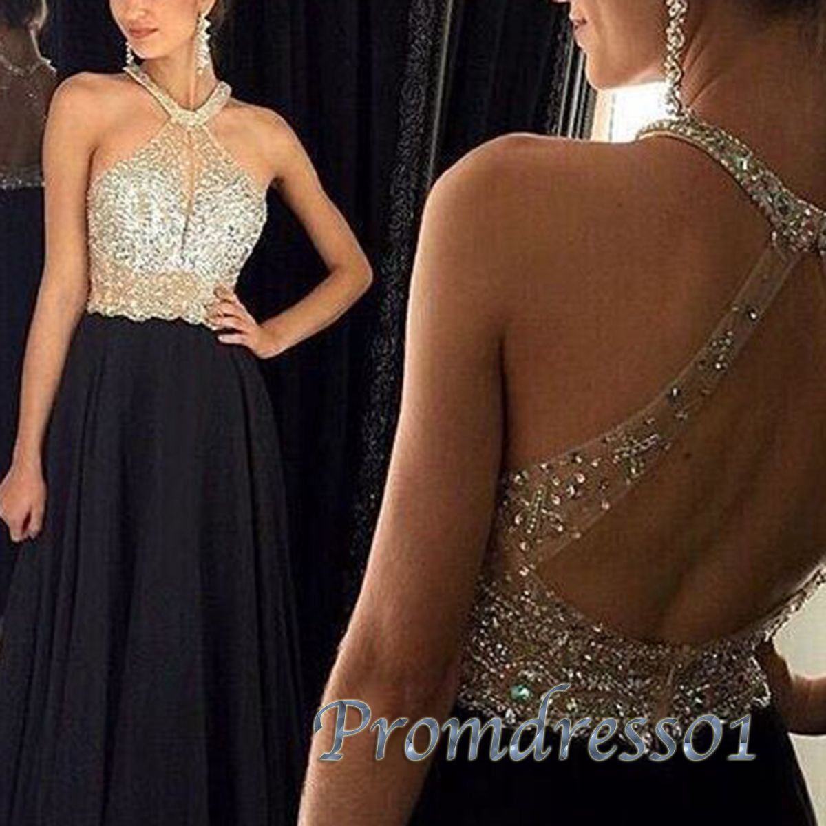 Elegant halter black chiffon sequins long prom dress ball gown