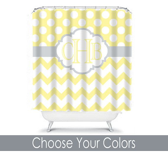 SHOWER CURTAIN Custom MONOGRAM Personalized Bathroom Decor Chevron - Yellow and grey bath mat for bathroom decorating ideas